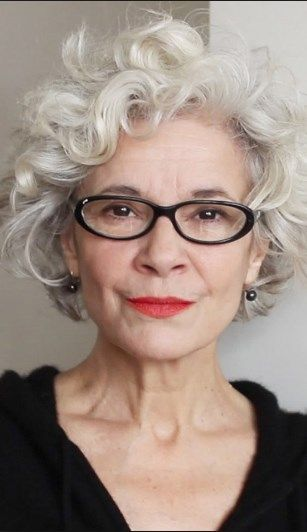 Short Hairstyles For Gray Hair With Glasses Grey Curly Hair Stylish Hair Short Curly Haircuts