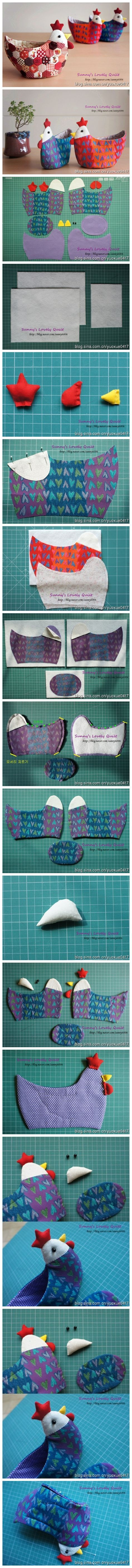 Tutorial on how to make a chicken-shaped patchwork bowl Fabric Crafts, Sewing Crafts, Sewing Projects, Diy Crafts, Diy Projects, Sewing Hacks, Sewing Tutorials, Sewing Patterns, Online Tutorials