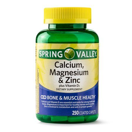 Spring Valley Calcium Magnesium Zinc Plus Vitamin D3 Coated Caplets 250 Count Walmart Com Magnesium Calcium Magnesium Calcium