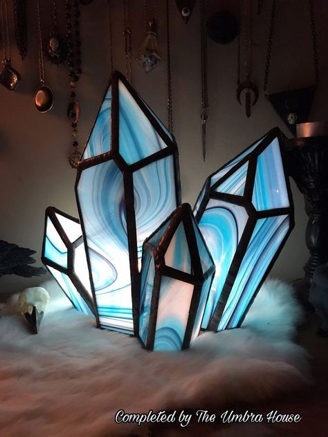 Excited to share this item from my shop: Pattern Crystal cluster Stained glass. Hand made craft decor by Stained Glass Lamps, Stained Glass Projects, Stained Glass Patterns, Fused Glass, Mosaic Patterns, Stained Glass Designs, Art Patterns, Broken Glass Art, Sea Glass Art