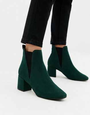 New Look wide fit chelsea block heeled boot in dark green in