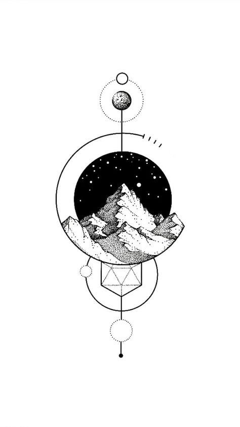 Dotwork mountain geometric tattoo design time-lapse. FREE design, download and browse the full design gallery: www.rawaf.shop/tattoo