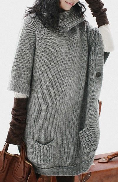 Grey High Neck Batwing Pockets Pullovers Sweater