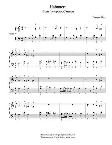 Habanera From Carmen Level 2 Piano Sheet Music With Images