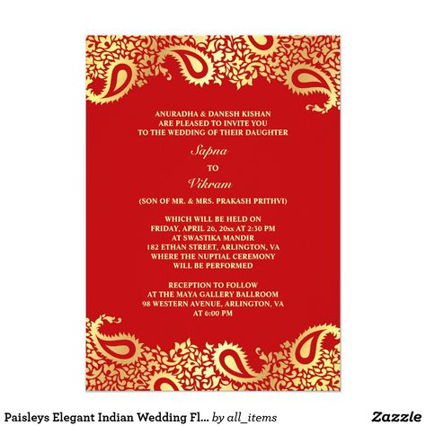 Single Page Email Wedding Invitation DIY Template - Indian Design 2 - best of invitation card format for vastu shanti