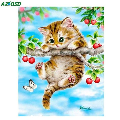 3D DIY Diamond painting craft kit.  Cat on Tree Branch.  Square drill, 5 kit sizes to pick from.