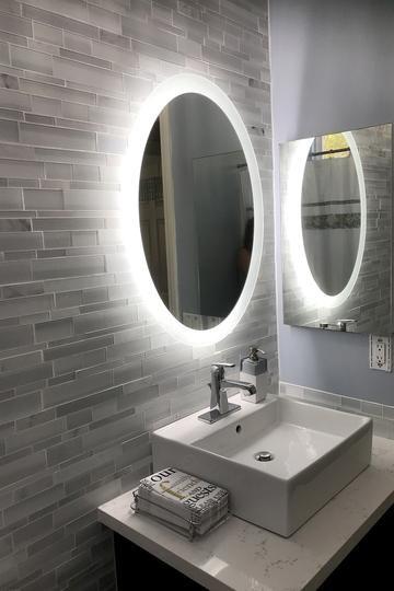 Side Lighted Led Bathroom Vanity Mirror 20 Wide X 28 Tall Oval Wall Mounted In 2020 Bathroom Vanity Mirror Bathroom Vanity Trends Industrial Style Bathroom