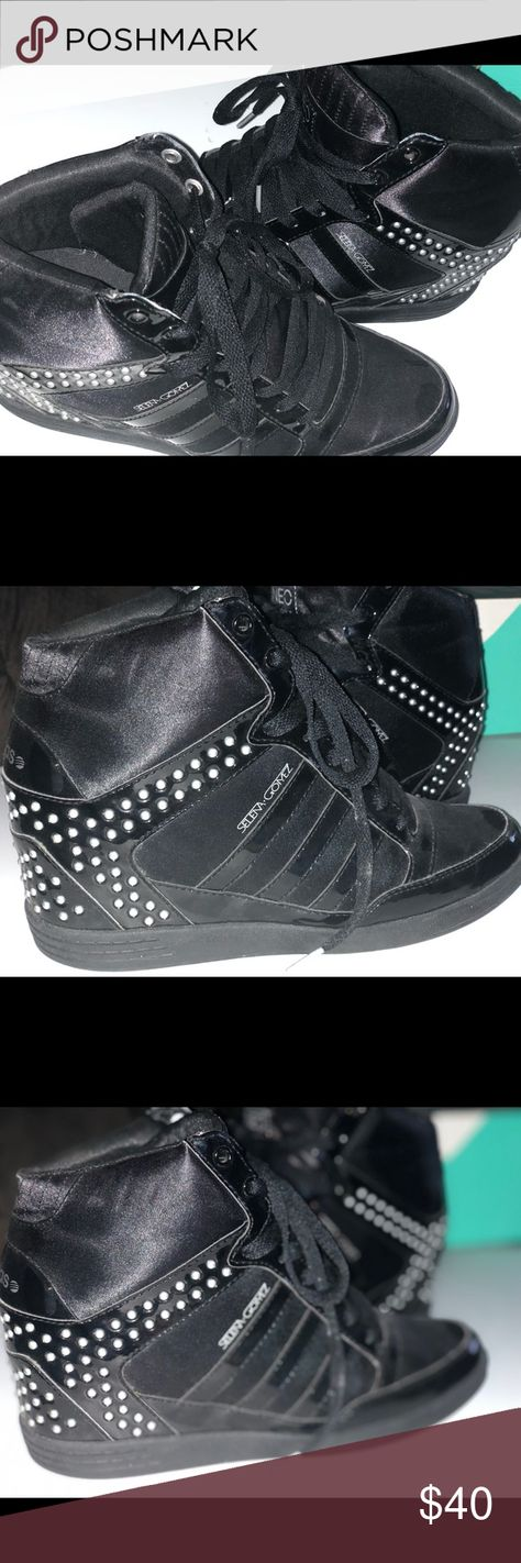 3a25b629de7 Adidas Wedge Sneakers Size 10 Adidas Wedge Sneaker in Black with Silver  Studs adidas BBNEO by