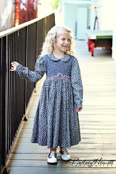 84aca887d Girls Long Sleeved Hand Smocked Blue Floral Easter Dress in Pima ...