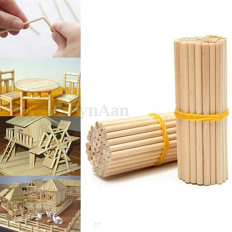 100pcs 150mm Round Wooden Lollipop Lolly Sticks Cake Dowel For DIY Food Craft DT