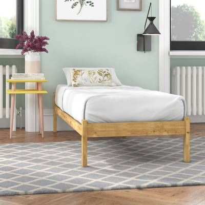 Furniture Natural Brown Wooden Bed Frame With Four Short Legs