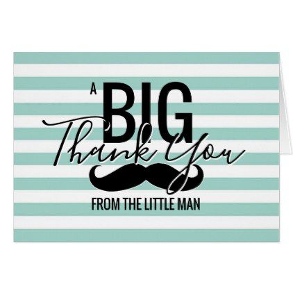 Thank You Little Man Baby Shower Blue Stripes Zazzle Com Blue