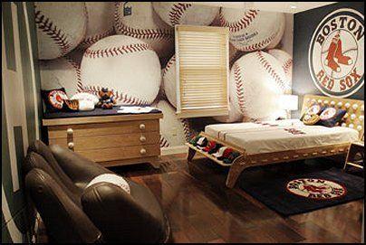 baseball themed wall covering is creating perfect ambiance in the ...