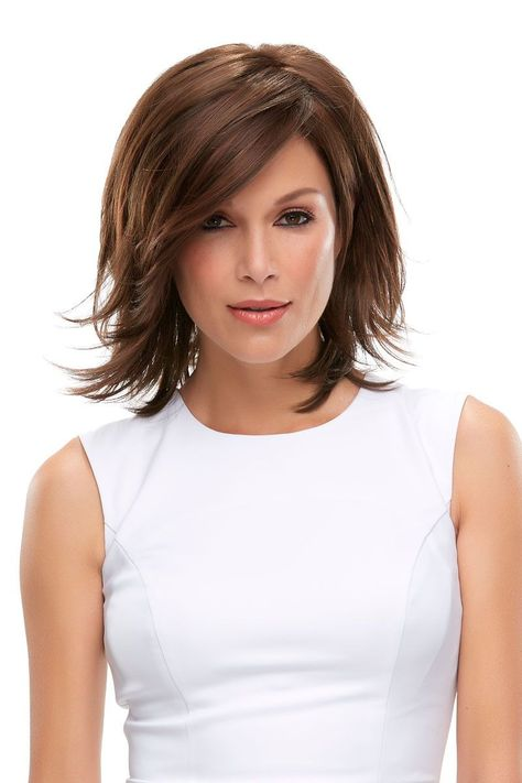 Rosie Lace Front Wig This layered wig features a bob-style with layers upon layers and a lace front hairline. The side-swept fringe bang is loaded with longer-layers, and the monotop offers versatile styling options and loads of comfort. Length B 9