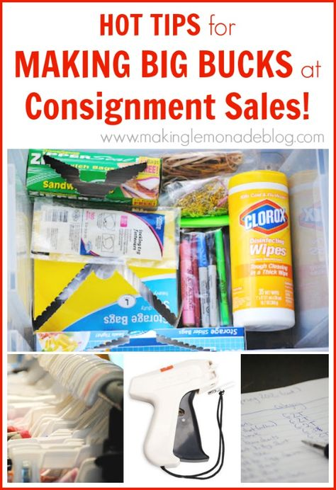 How to Make LOTS of Money at Kids' Consignment Sales! Insider tricks on how to declutter your kids' stuff and make some bucks at the same time. via www.makinglemonadeblog.com #kids #consignment #frugal