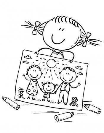 Nina Ha Dibujado Un Cuadro De Su Familia Ilustracion De Stock Familia Feliz Dibujo Imagenes Para Dibujar Arte De Manualidades Faciles
