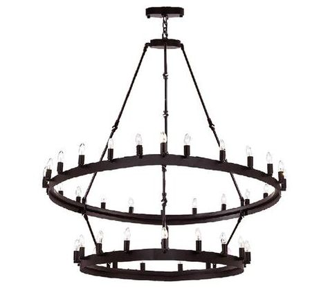 Wrought Iron Vintage Barn Metal Camino Two Tier Chandelier