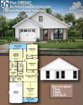 Plan 51815hz 3 Bed Ranch House Plan With Vaulted Ceiling House Plans Farmhouse Barn House Plans Craftsman House Plans