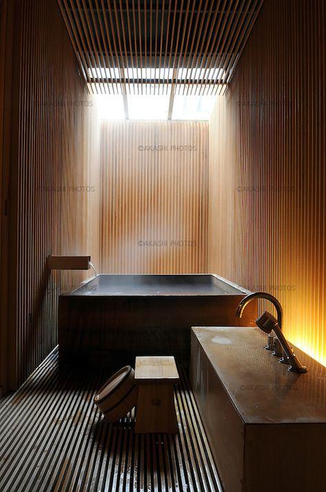 Bath at Fujiya Ryokan in Ginzan Onsen Village, traditional inn redesigned by the japanese architect Kengo Kuma in Japanese Bath House, Japanese Style House, Japanese Bathroom, Japanese Sauna, Japanese Home Design, Modern Japanese Architecture, Japanese Interior, Japanese Modern, Saunas