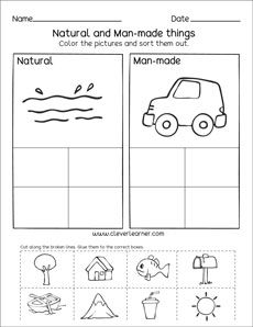 Natural Resources And Man Made Things Worksheets For Preschools With Images Social Studies Worksheets Kindergarten Social Studies Natural Resources