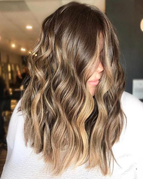 Golden Brown Hair Color, Brown Hair With Blonde Highlights, Brown Balayage, Hair Color Balayage, Brown Curls, Honey Balayage, Blonde Ombre, Blonde Color, Gold Brown Hair