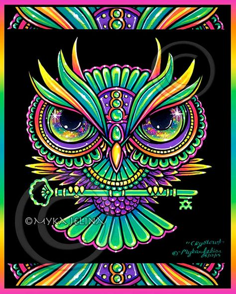 Items similar to Psychedelic Rainbow Owl Trippy Hippie Crystowl BIG Prints on Etsy