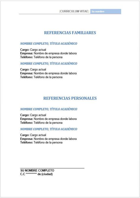 ... Referencias Personales Y Familiares En Hoja De Vida CV   Hoja De    Resume En Espanol ...  Resume En Espanol