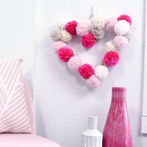 DIY Pom Pom Heart Wreath Room Decor