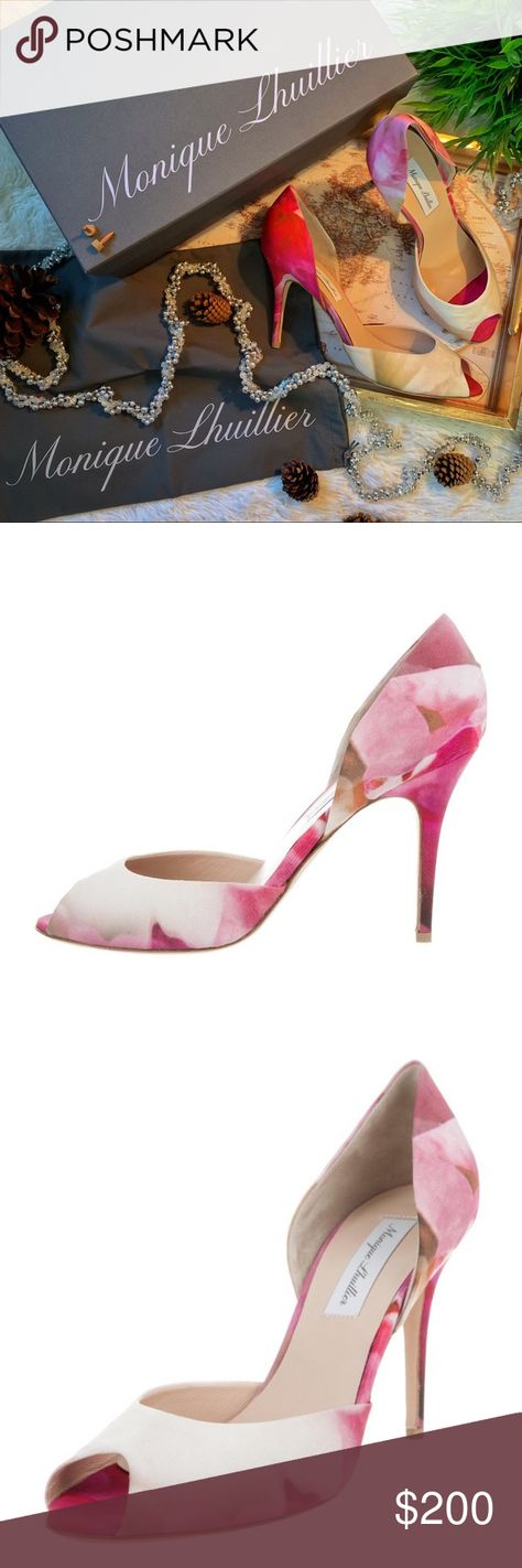 da518c57c01d4 Monique Lhuillier Floral Print Pump Pink and multicolor satin Monique  Lhuillier peep-toe pumps with