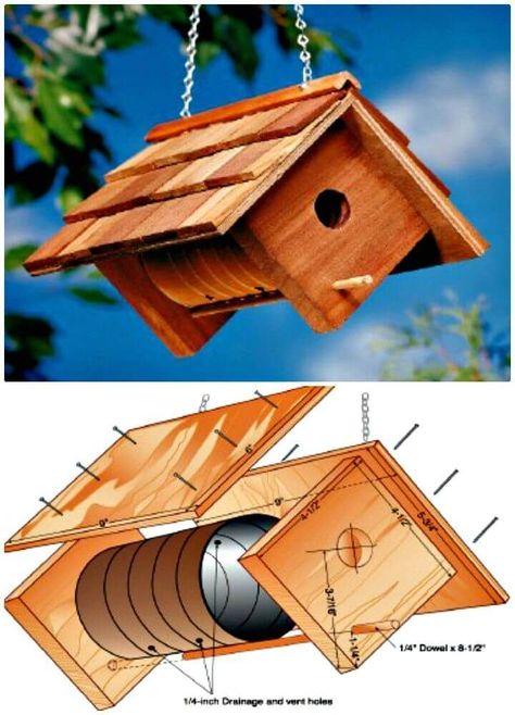 Comment construire une cabane à oiseaux? 55 idées simples bricolage Birdhouse -