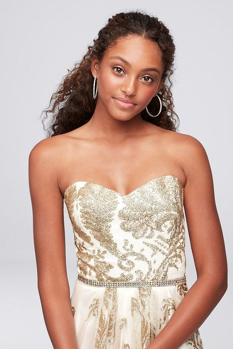 8d3cd7163f8e Strapless Glitter Brocade Gown with Crystal Belt Style 57617Z1, Ivory, 10