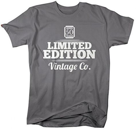 5efca0089 These shirts are personalized with '50' and read 'Aged 50 Years, Limited  Edition, Vintage Co.'.