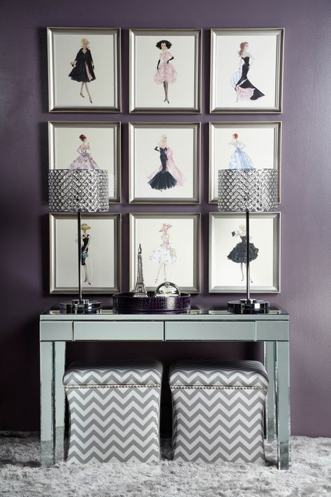 Fashion for your walls with Barbie sketches and mirrored accessories.