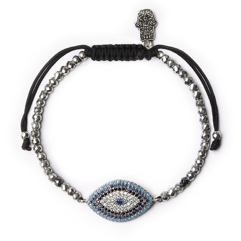 Ancient Protector Evil Eye Hematite Silver Bracelet | Karma and Luck