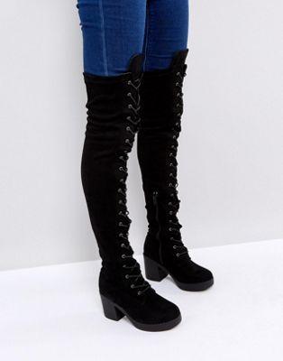 BootsFashion Heel Collection Over Chunky In Knee Truffle XPkuZi