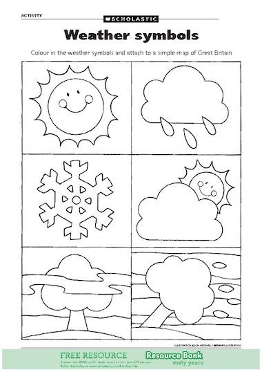 Colour In The Weather Symbols And Attach To A Simple Map Of Great