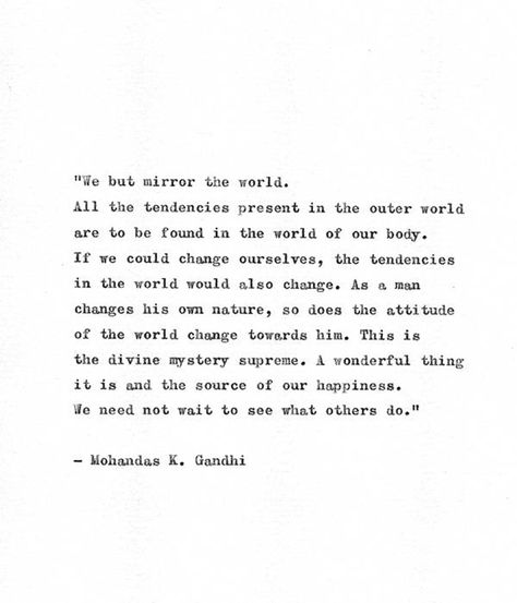 Gandhi Typewriter Quote 'Mirror The World' Hand Typed | Etsy