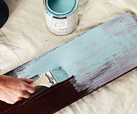 Great tips for layering darker and lighter colors for beautiful distressed finishes. How to Paint Distressed Wood Furniture from BHG
