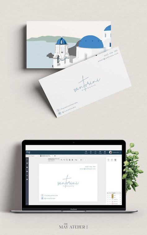 Editable Santorini Themed Modern Business Card, Corjl Template, Blue and White, Minimalist Business