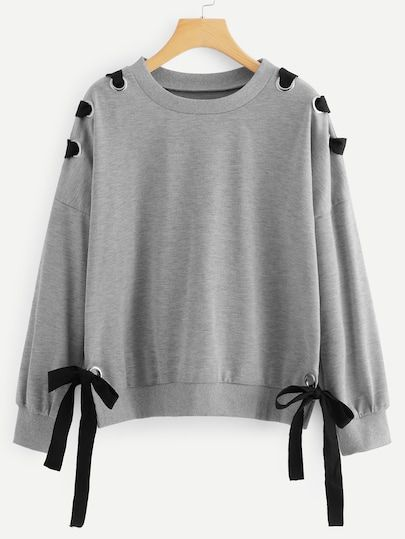 Shop Drop Shoulder Knot Side Sweatshirt online. SheIn offers Drop Shoulder Knot Side Sweatshirt & more to fit your fashionable needs.