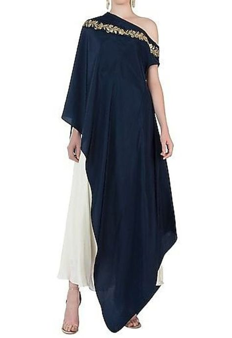 One Shoulder Cape Dress with Dhoti Pants For Women Top New Ethnic Stylish Indian Dress