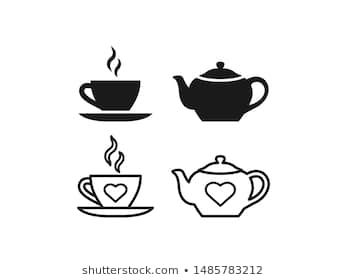 Teapot Cup Icon Vector Tea Set In Simple Flat Design Outline Teacup With Steam And Teapot Isolated On White Background Illustrat Tea Cups Vector Tea Pots