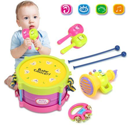 5Pcs Kids Baby Roll Drum Musical Instruments Band Kit Children Play Toy Gift Set