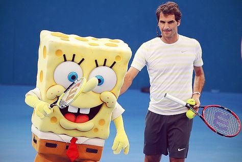 Roger Federer and SpongeBob