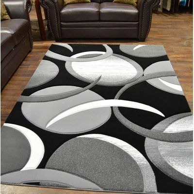 Ivy Bronx Mccampbell Abstract Black Gray Area Rug In 2021 Modern Rugs Living Room Wall Art Decor Living Room Living Room Decor Cozy