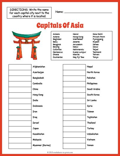 Free Capitals Of Asia Geography Worksheet Geography Worksheets Social Studies Worksheets Geography Lessons
