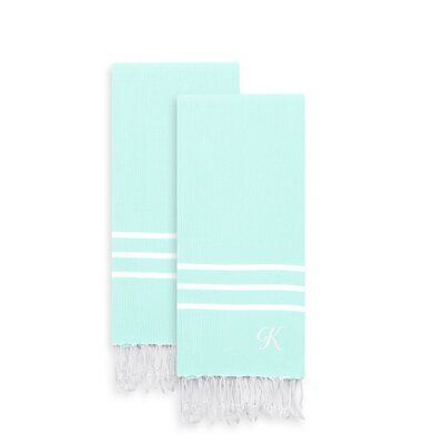Highland Dunes Polizzi Personalized 2 Pestemal Turkish Hand Towel Set Colour Royal Blue Let Towel Set Blue Towels Hand Towel Sets