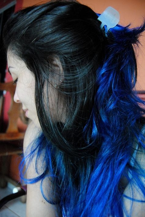 Black Hair With Electric Blue Highlights Hair Color Ideas And