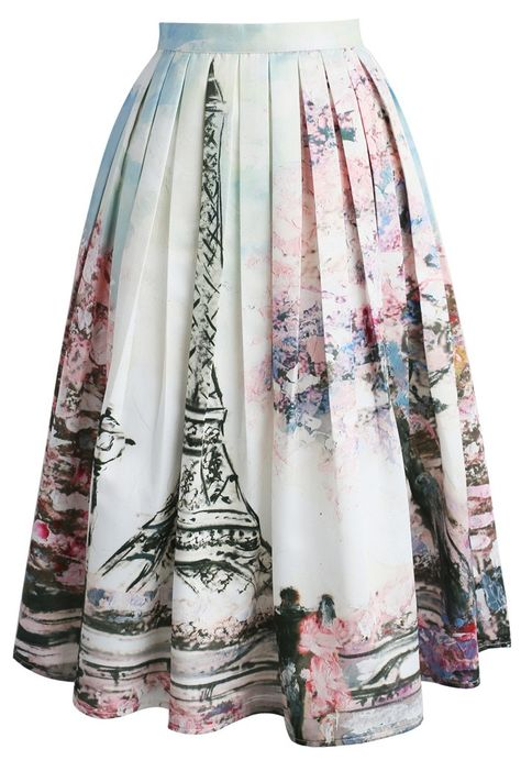 6725a01079 Love in Paris Printed Midi Skirt chicwish.com