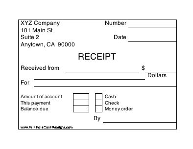 Free Printable Payment Receipts. Editable Free Blank Payment